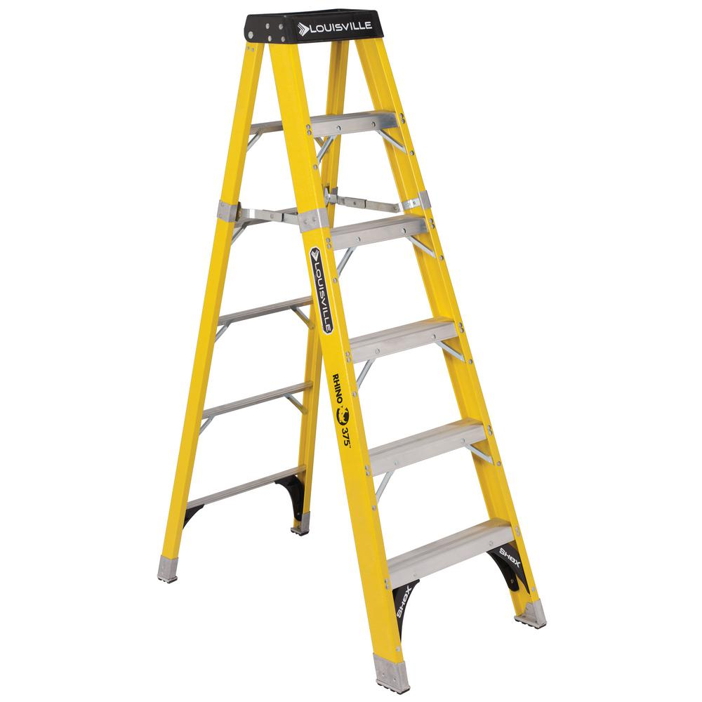 Louisville Ladder 6 ft. Fiberglass Step Ladder with 375 lbs. Load Capacity Type IAA Duty Rating