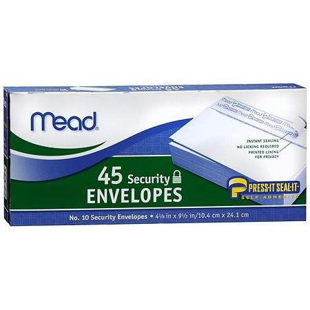 Mead Security Envelopes - 45.0 Each