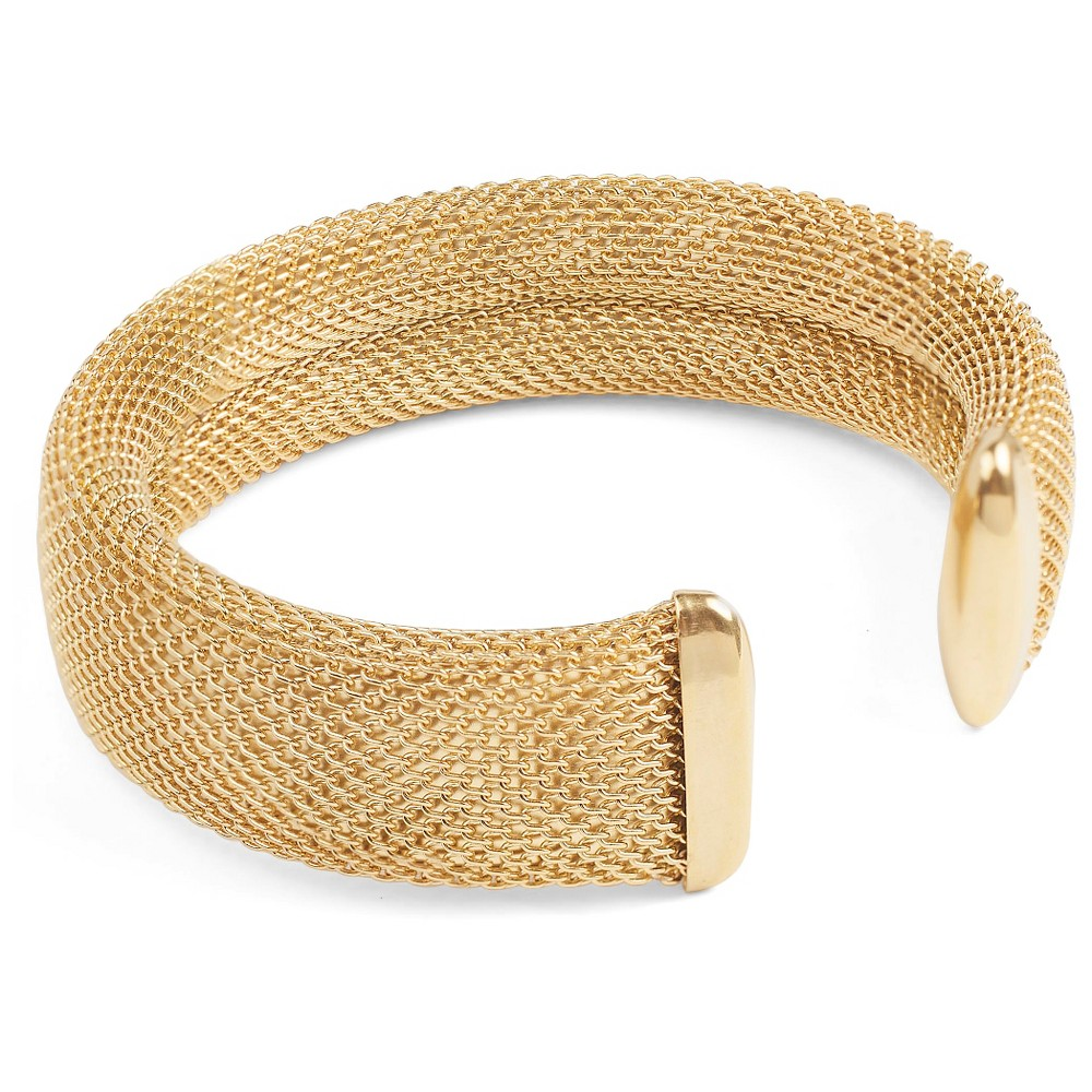 West Coast Jewelry Goldtone Stainless Steel Mesh Cuff Bracelet, Girl's, Gold