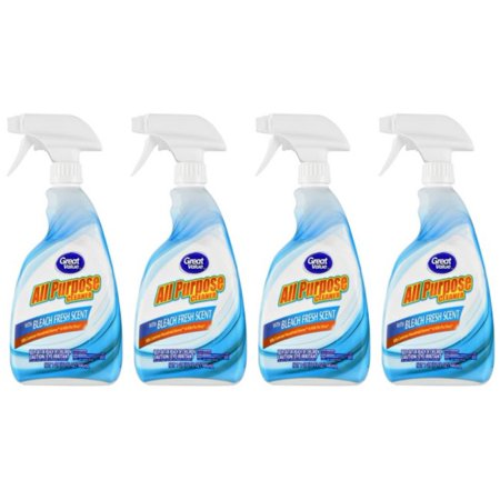 (4 Pack) Great Value Fresh Scent All Purpose Cleaner with Bleach, 32 fl oz