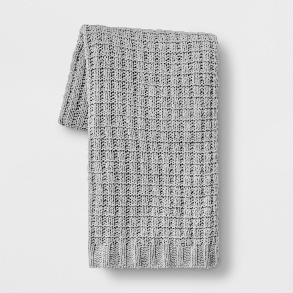 Chenille Throw Blanket Gray - Threshold