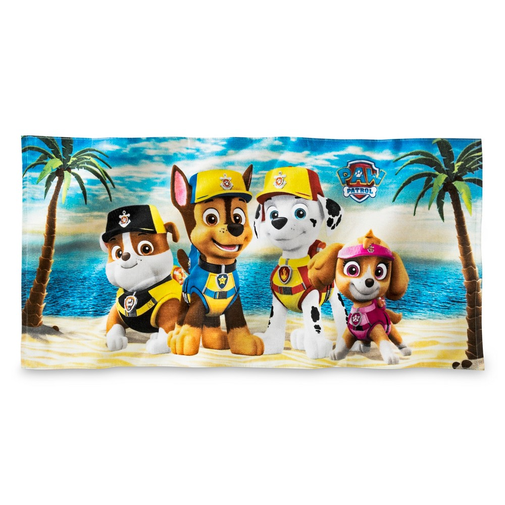 Paw Patrol Beach Towel Blue and Yellow - Nickelodeon, Purple And Pink