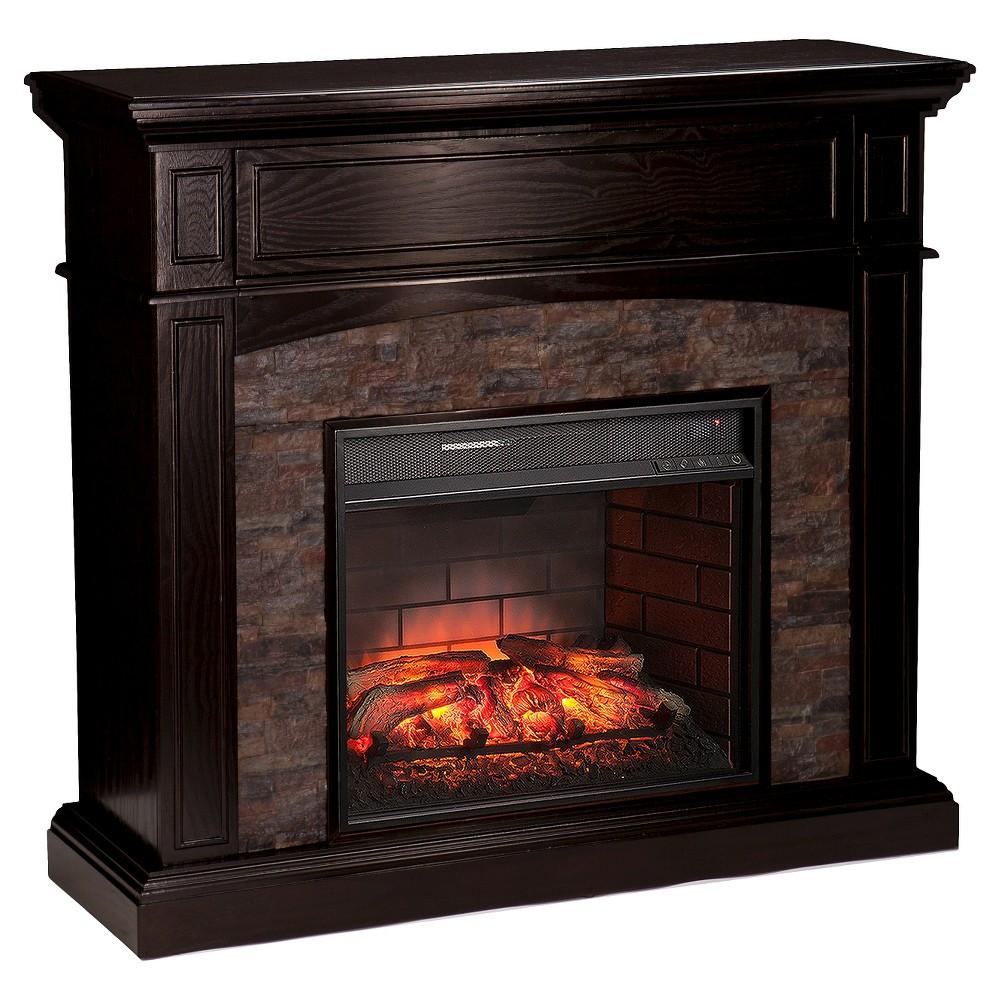 Greenwood Faux Stone Corner Infrared Electric Media Fireplace, Black