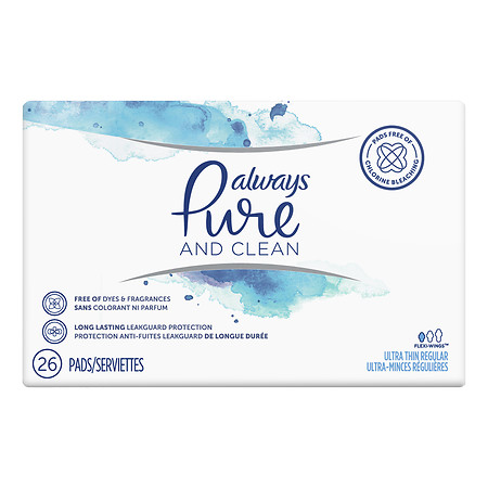 Always Pure & Clean Ultra Thin Feminine Pads With Wings Regular - 26 ea