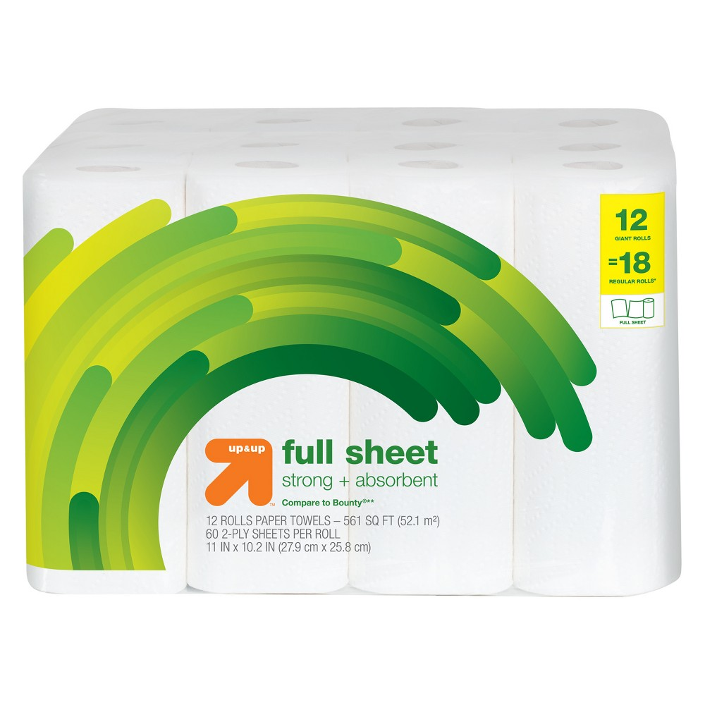 Full Sheet Paper Towels - 12 Giant Rolls - Up&Up (Compare to Bounty)