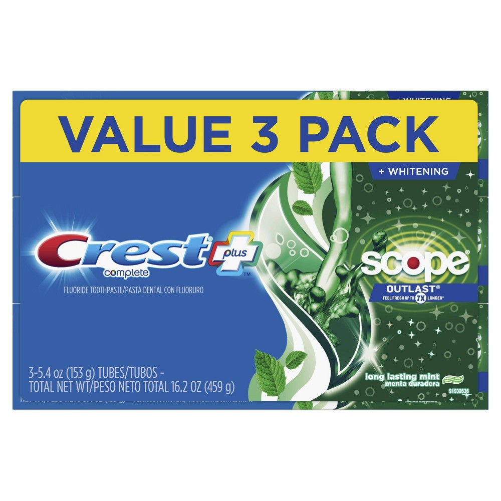 Crest + Scope Outlast Complete Whitening Toothpaste Mint Value Pack - 3ct - 16.2oz