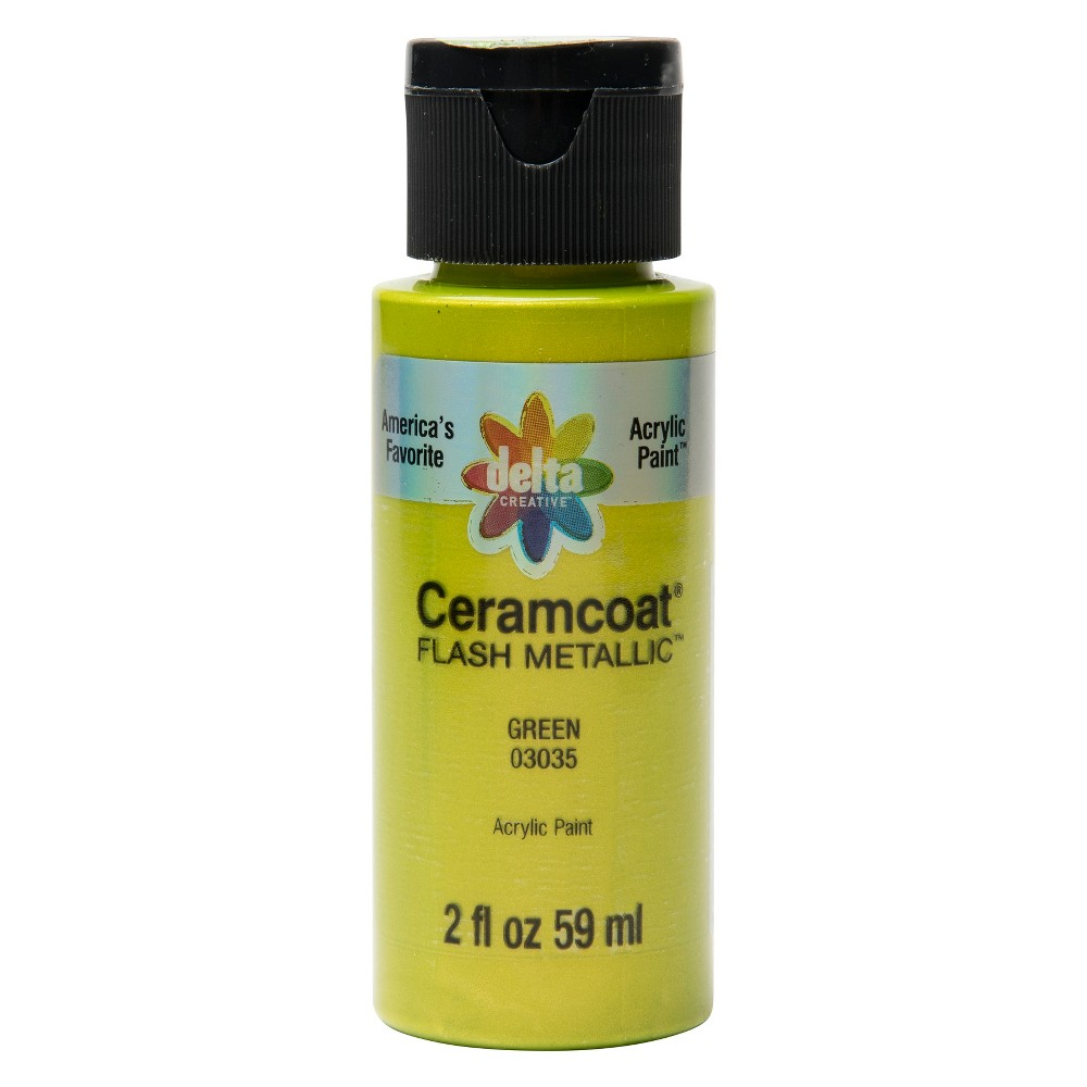 2 fl oz Acrylic Craft Paint Metallic Green - Delta Ceramcoat