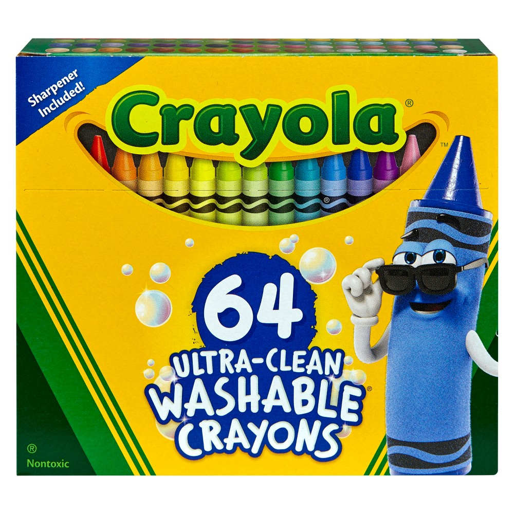 Crayola Ultra-Clean Washable Crayons 64ct, Multi-Colored