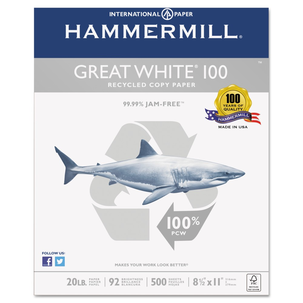 Hammermill Great White 100 Recycled Copy Paper, 20lb, 8-1/2 x 11, White, 5,000 Sheet/Carton (86790)