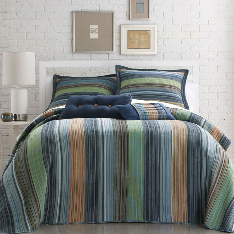 Retro Chic Cotton Striped Bedspread, TWIN, Blue