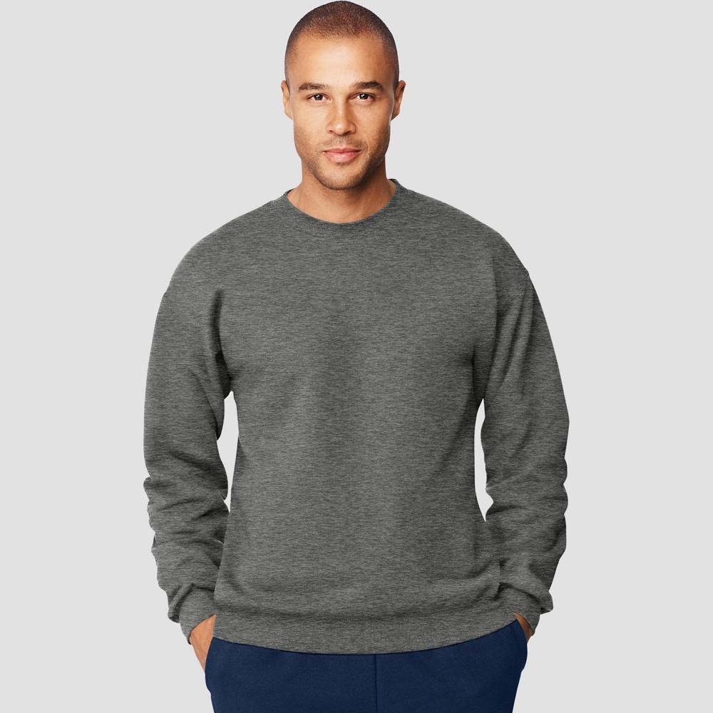 Hanes Men's Big & Tall Ultimate Cotton Sweatshirt - Charcoal Heather 3XL, Grey Grey