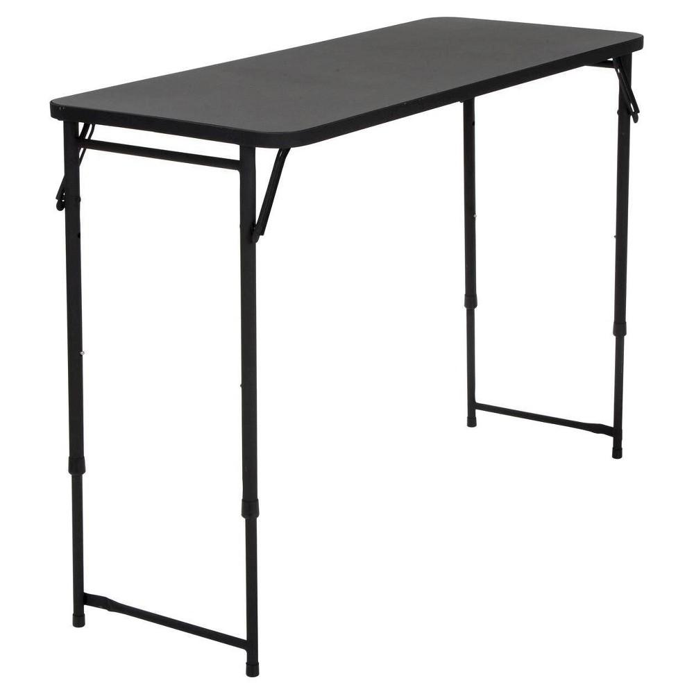 Rectangle Adjustable Height Folding Table - 20X48 - Black - Cosco