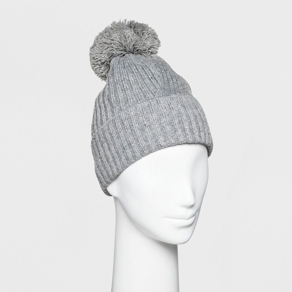 Women's Ribbed Cuff Pom Beanie - A New Day Gray