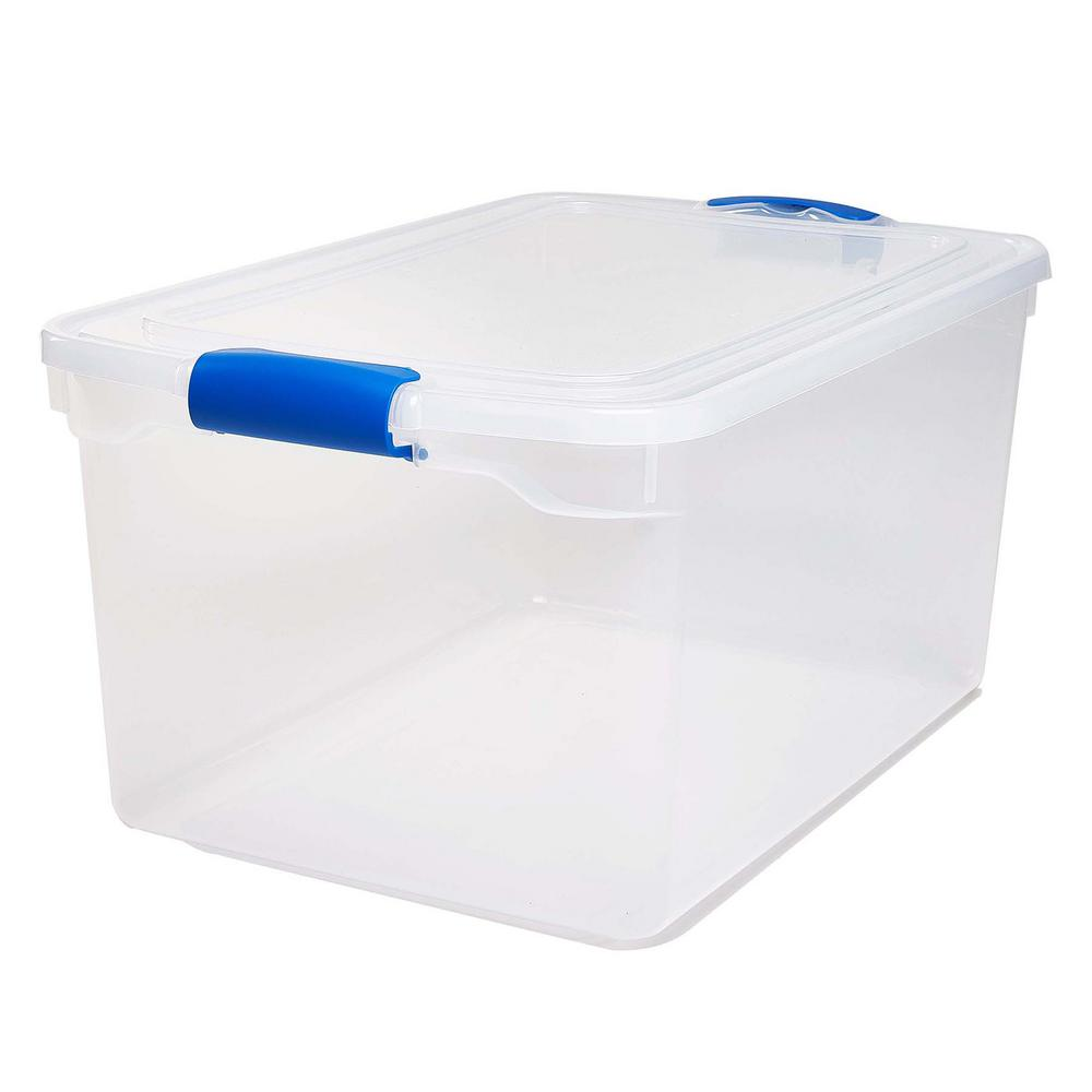 HOMZ 66 Qt. Latching Clear Storage Box (Set of 2)