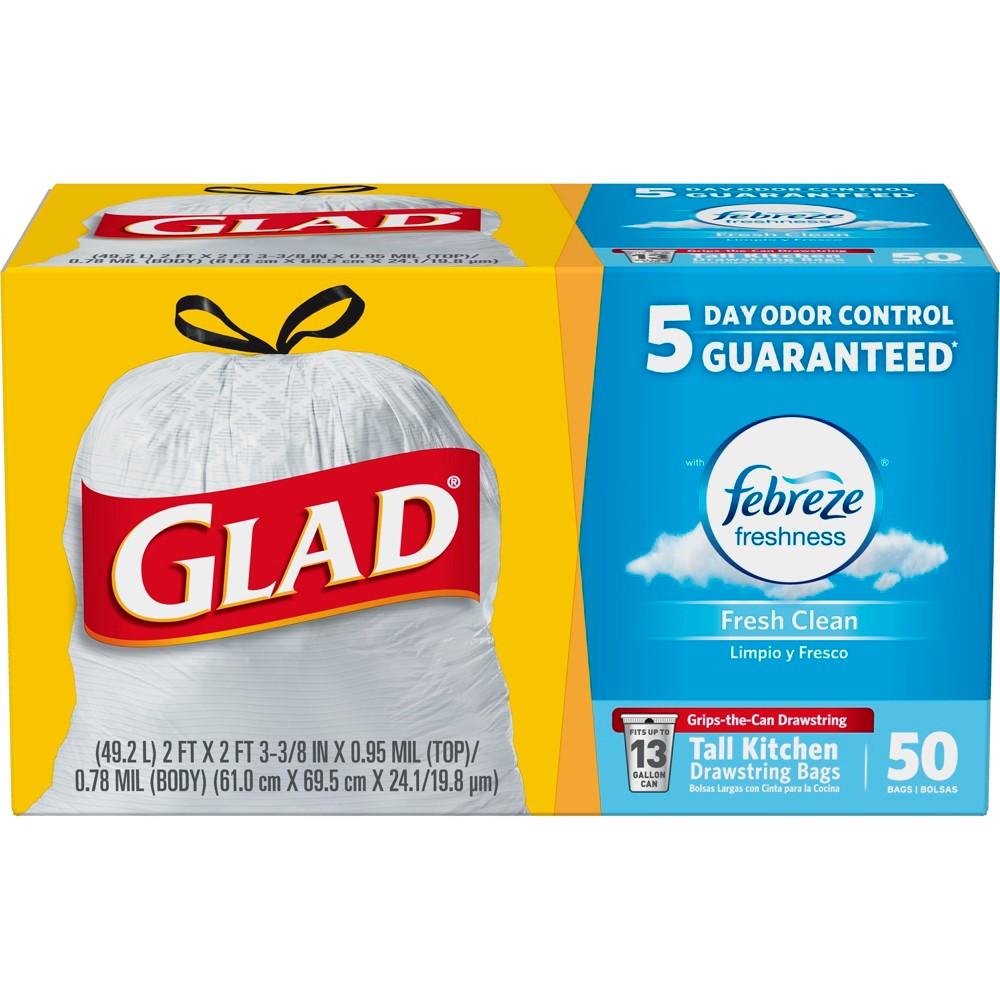 Glad OdorShield Febreze Fresh Clean Scented Tall Kitchen Drawstring Trash Bags - 50ct