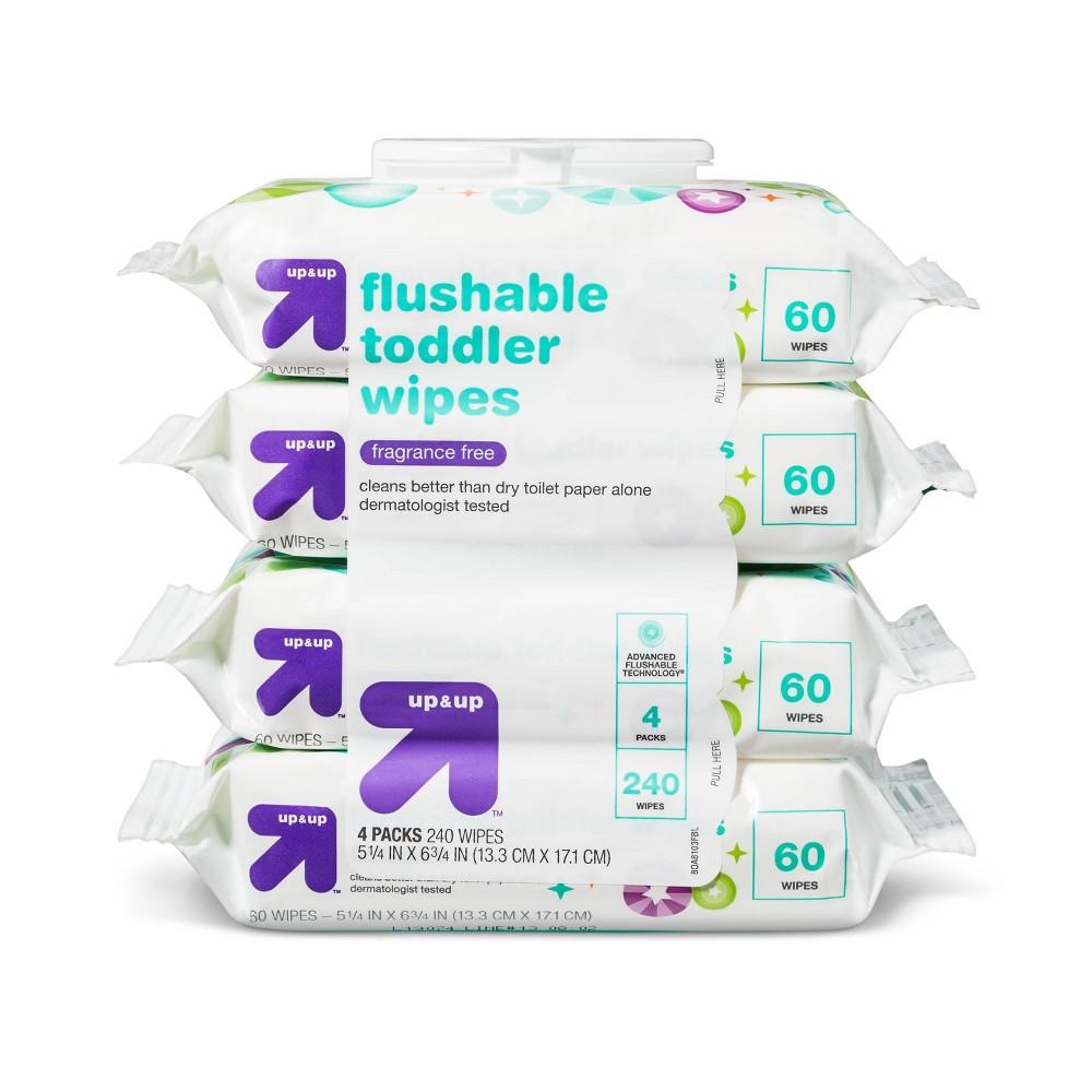 Fragrance Free Flushable Toddler Wipes - 4pk/240ct - Up&Up