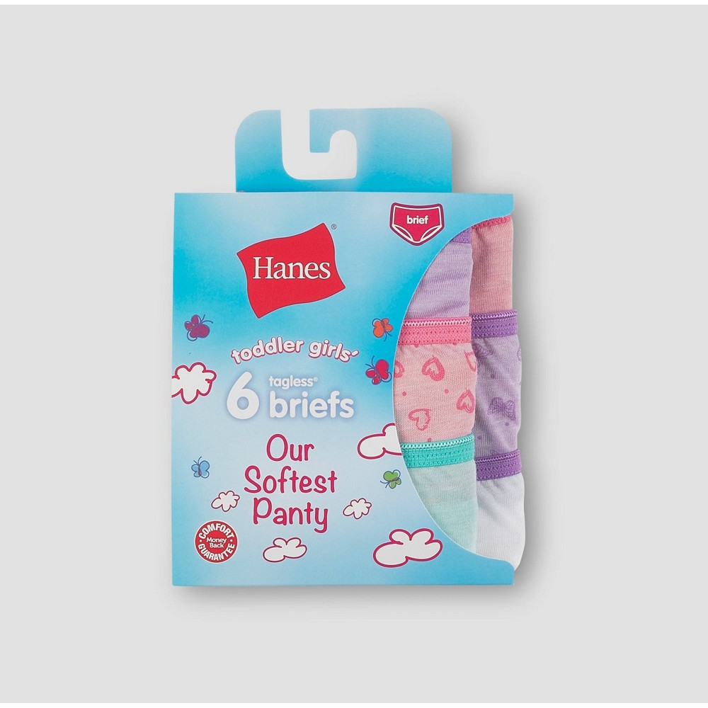 Hanes Toddler Girls' 6pk 'Our Softest' Classic Briefs - 4T, Girl's, MultiColored