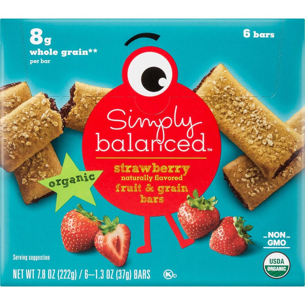 Organic Whole Grain Strawberry Fruit & Grain Bars - 6ct / 1.3oz - Simply Balanced