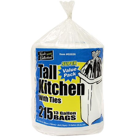 Nicole Home Collection Tall Kitchen Trash Bags with Ties, 13 Gallon, White, 215 Ct