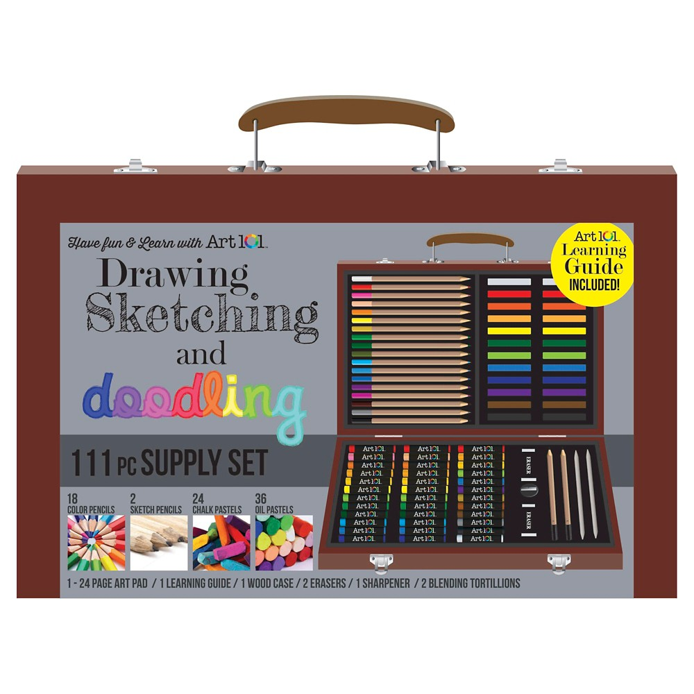 Art101 Drawing, Sketching, and Doodling Supply Set - 111pc, Multi-Colored