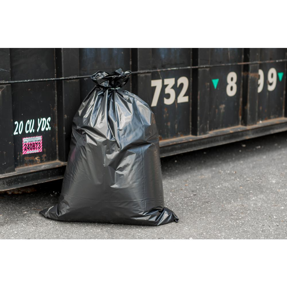 Plasticplace 33 in. W x 39 in. H 32 Gal. - 33 Gal. 3.0 mil Black Flat Seal Contractor Bags (50-Case)