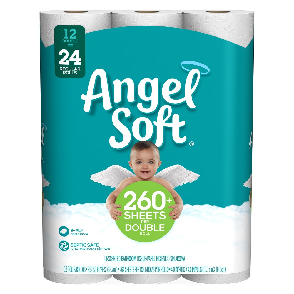 Angel Soft Toilet Paper - 12 Double Rolls