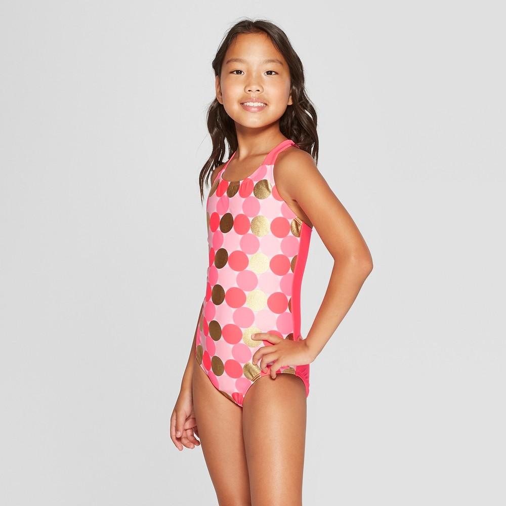 Girls' One Piece Swimsuit - Cat & Jack Pink XL