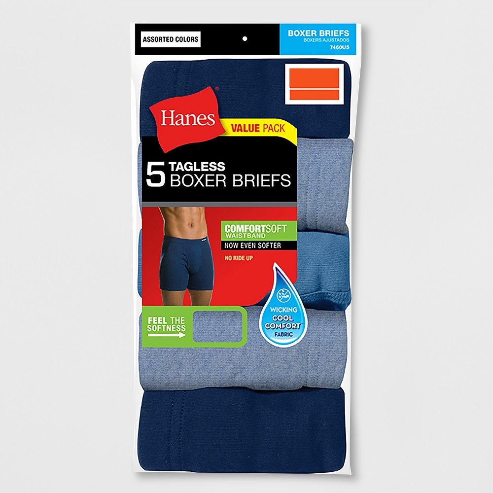 Hanes Men's 5pk Comfortsoft Waistband Boxer Briefs with Fresh IQ, Size: Small, Black