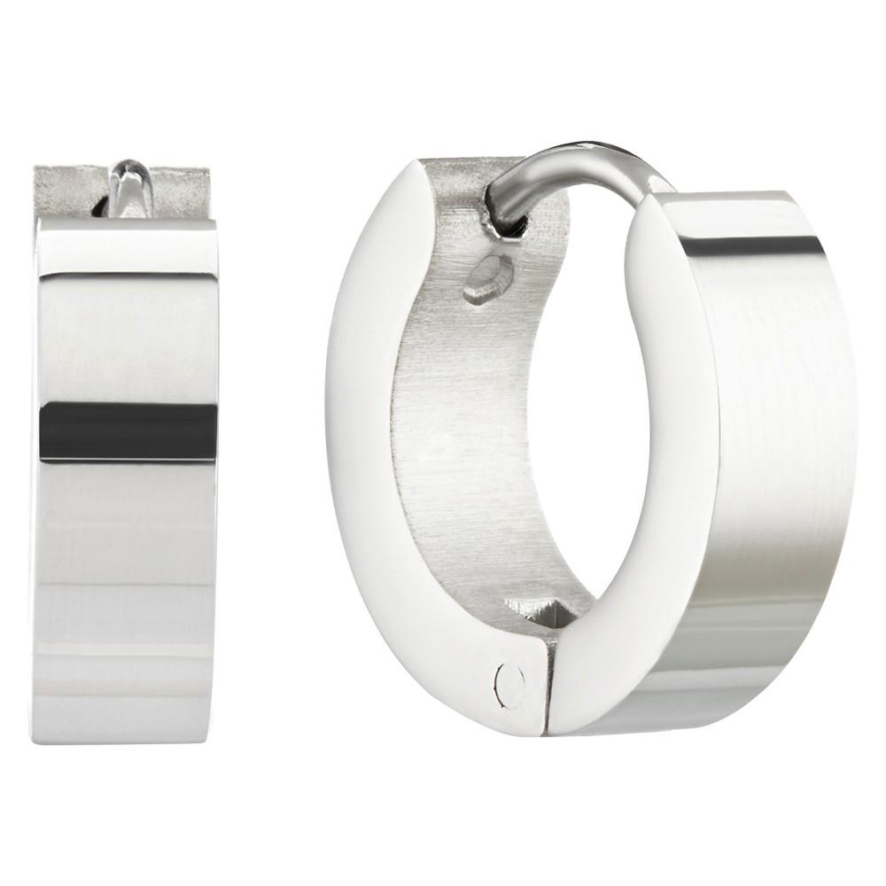 West Coast Jewelry Stainless Steel Polished Hoop Earrings, Girl's, Silver