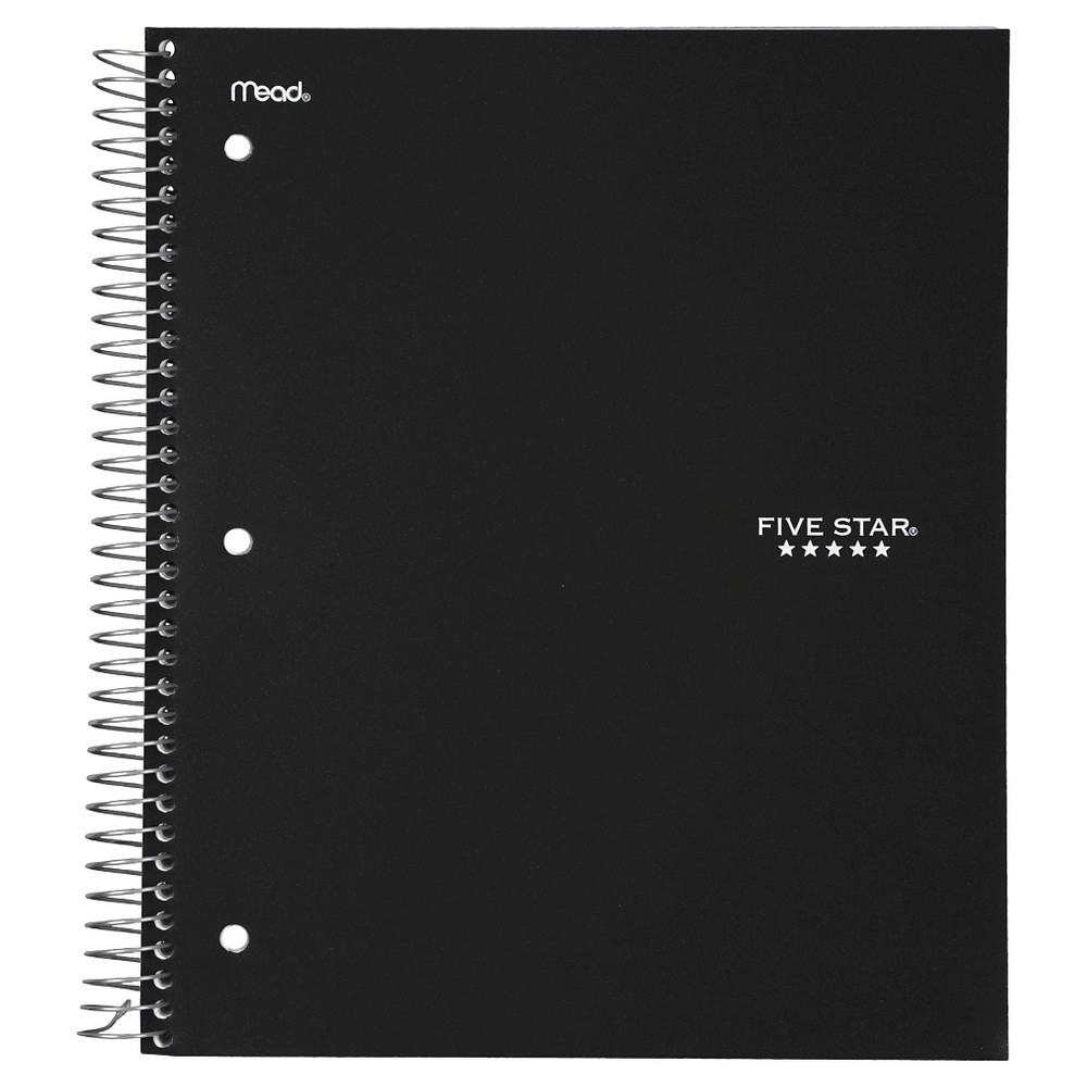 Five Star 3 Subject College Ruled Spiral Notebook - Black