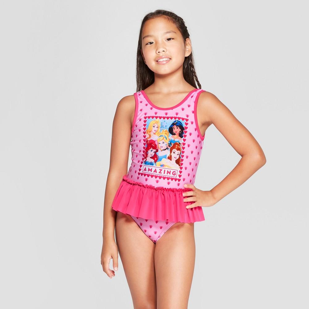 Girls' Disney Princess One Piece Swimsuit - Pink XS