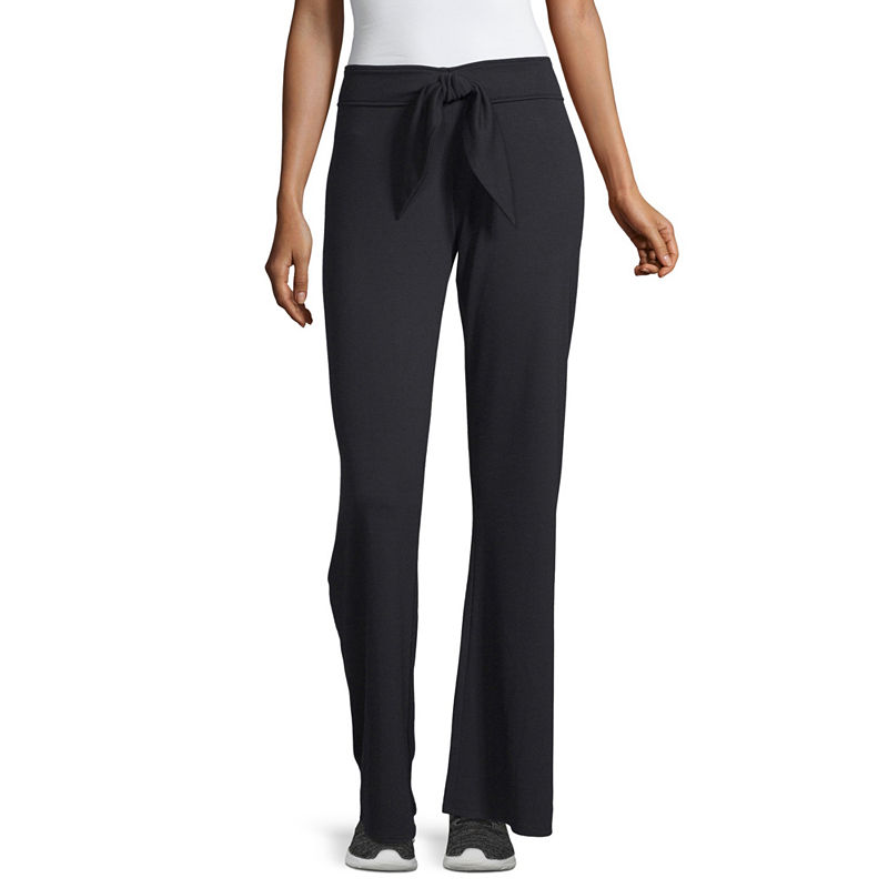 Xersion Tie Front Pant French Terry Sweatpants, Womens, Core Black, Xx-large