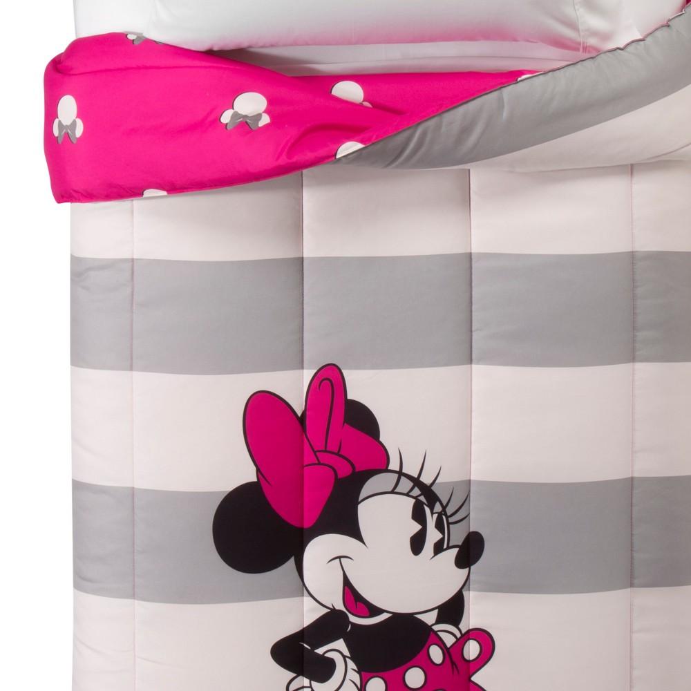 Disney Minnie Mouse Gray & White Comforter (Twin/Full)