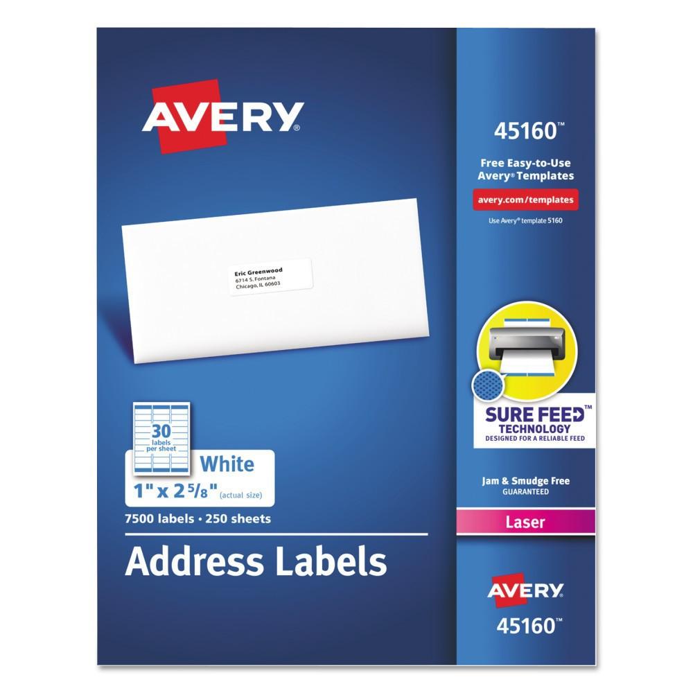 Avery Address Labels, 1 x 2-5/8, White, 7500/Box
