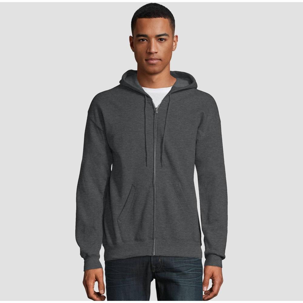 Hanes Men's EcoSmart Fleece Full Zip Hooded Sweatshirt - Silver L
