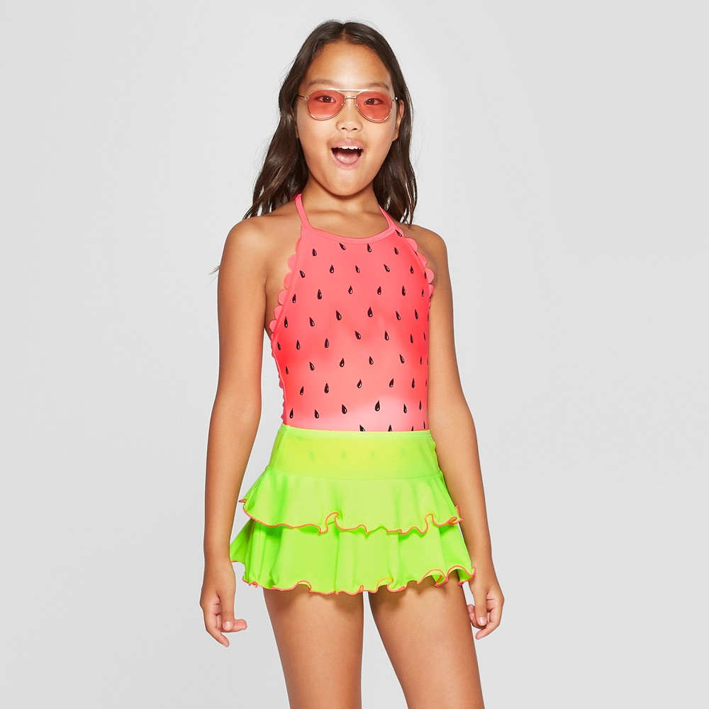 Girls' One in Melon One Piece with Skirt Swimsuit - Cat & Jack Coral M, Pink