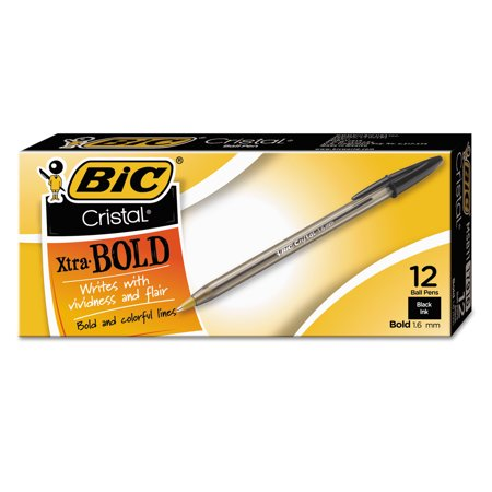 BIC Cristal Xtra Bold Ball Pen, Bold Point (1.6mm), Black, 12 Count