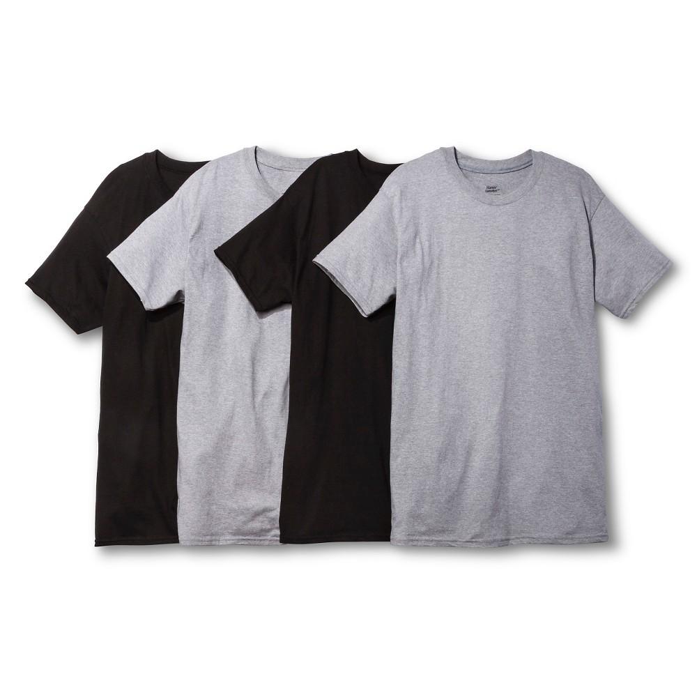 Hanes Men's 4pk Dri Crew Neck T-Shirt - Black/Gray L