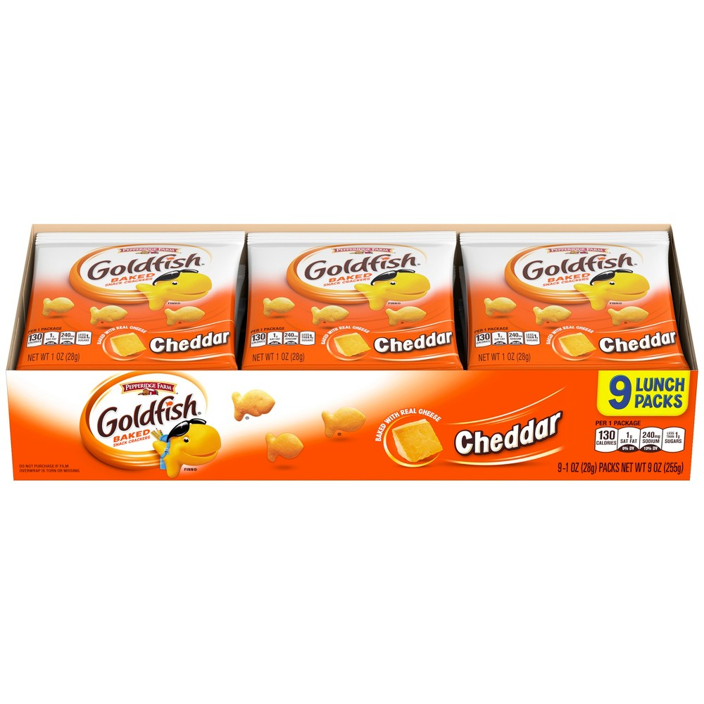 Pepperidge Farm Goldfish Cheddar Crackers, 1oz Multipack Tray, 9ct 1oz Single-Serve Snack Packs