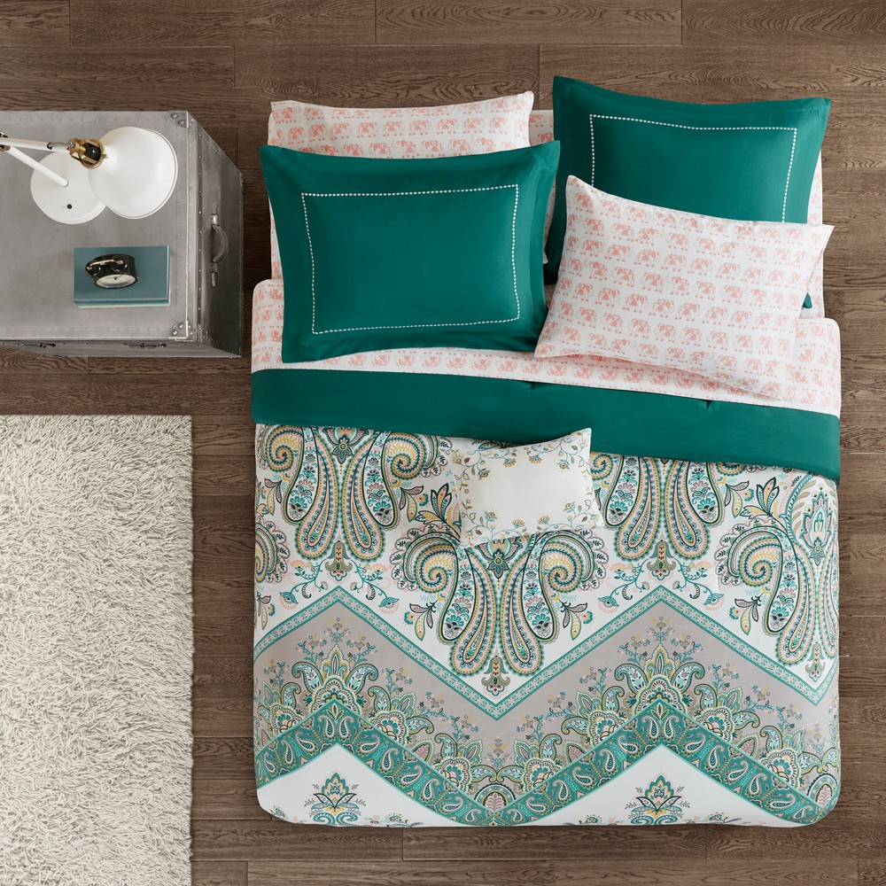 7pc Twin Allura Complete Bed and Sheet Set Teal (Blue)