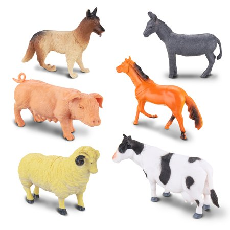 6 Types Big Animals Toys Educational Simulated Animal World Model Kit Action Figures On The Farm for Toddler Children Kids Christmas Gift
