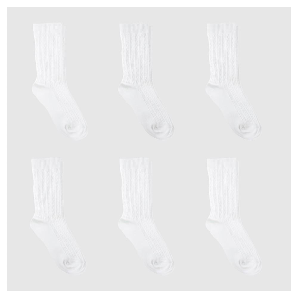 Girls' Casual Socks 6pk - Cat & Jack White 5.5-8.5, Size: Small