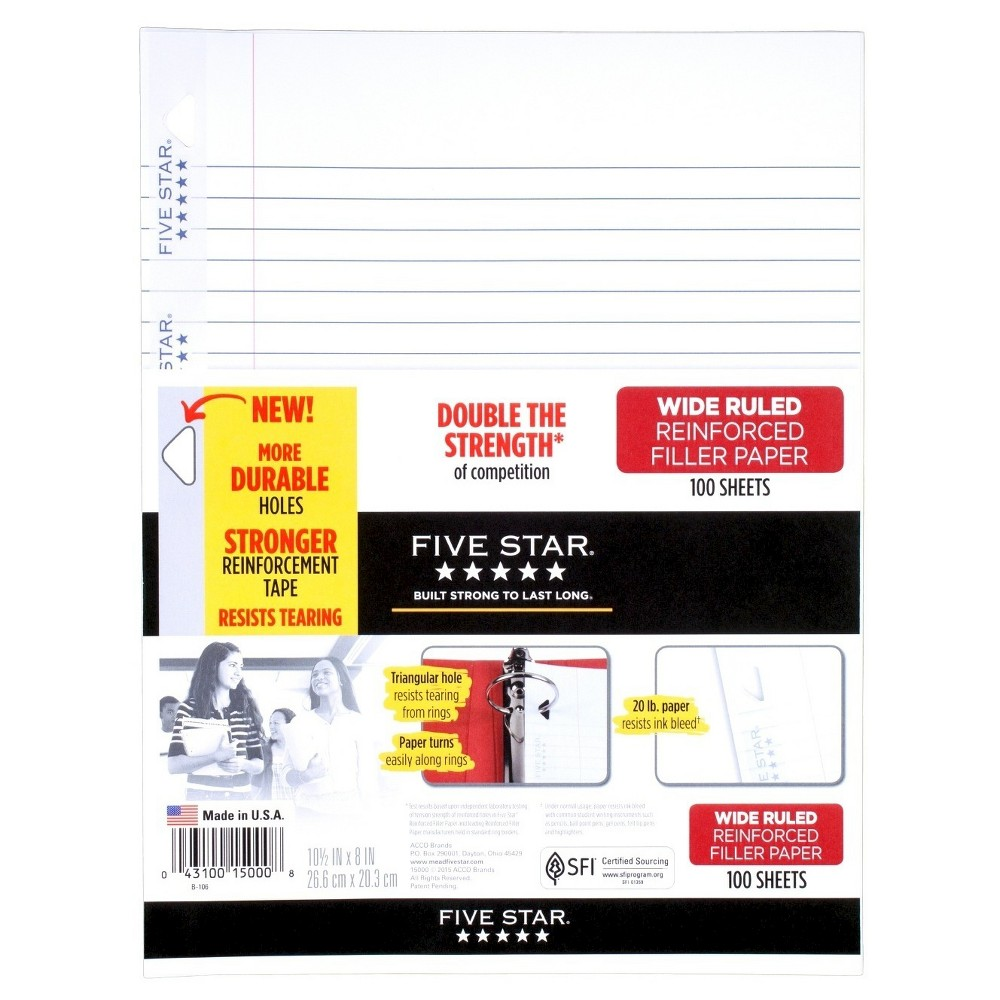 Five Star Filler Paper Wide Ruled Reinforced 100ct, White