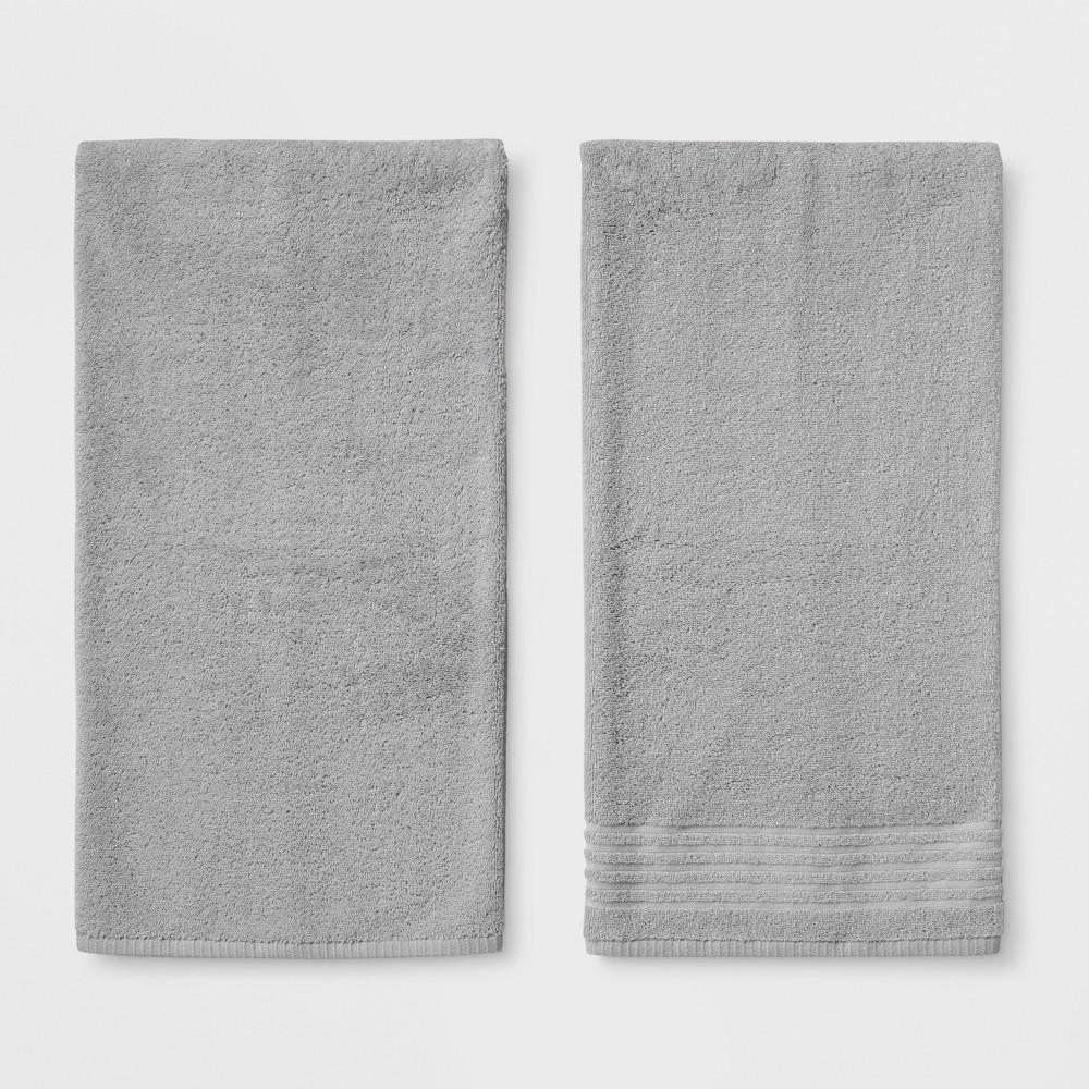 2pk Solid Bath Towel Sets Gray Mist - Room Essentials