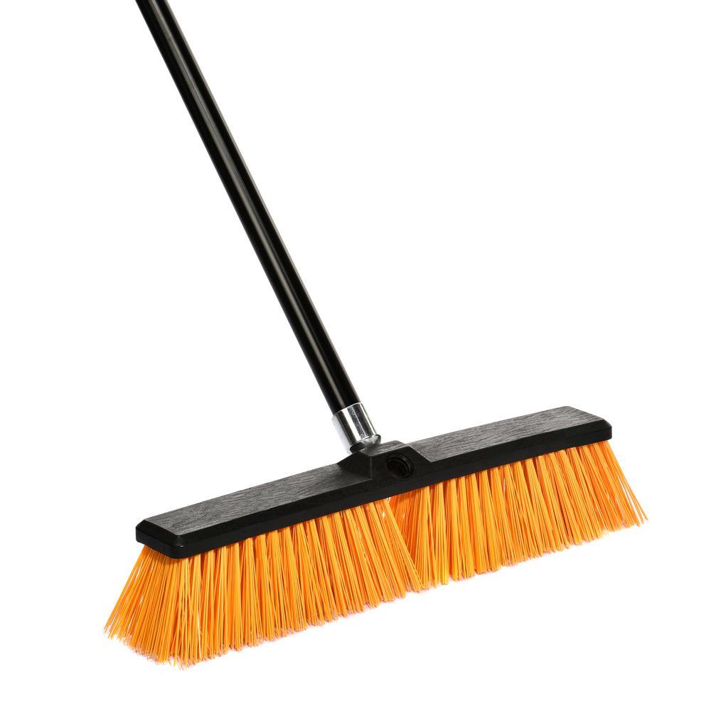 Alpine Industries 18 in. Orange Indoor Outdoor Rough Surface Push Broom, Black/Yellow