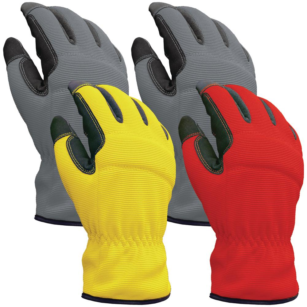 Firm Grip Utility Large Multi Color Synthetic Leather Glove (4-Pack), Adult Unisex