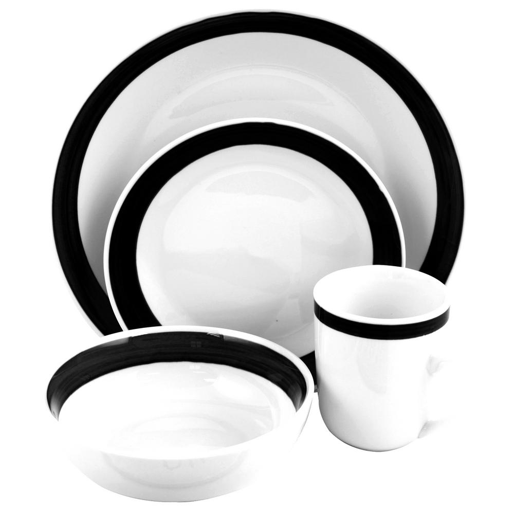 Basic Liiving III 16-Piece Black Dinnerware Set, White/Black