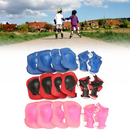 6 Pieces Kids Skating Protectors Adult Unisex Bike Scooter Roller Skating Skateboard Knee Elbow Wrist Pads Kid Birthday Presents