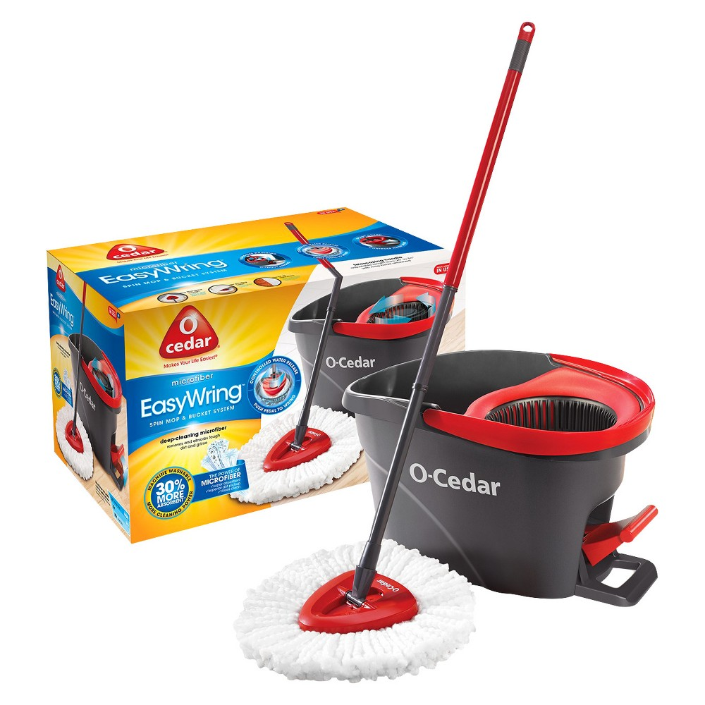 O-Cedar Easy Wring Spin Mop and Bucket, Red