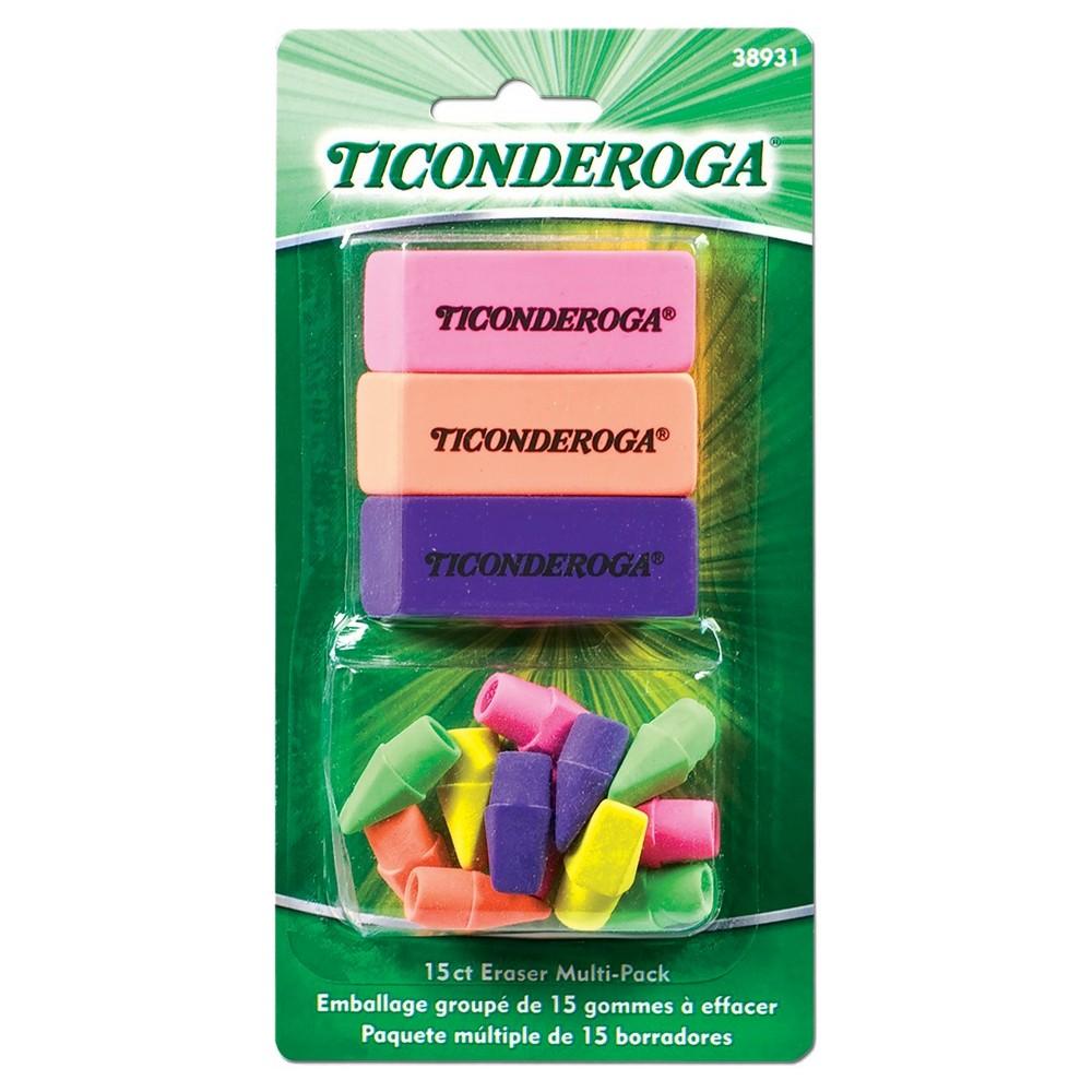 Ticonderoga Erasers, 15ct - Multicolor, Multi-Colored